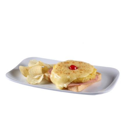 Tostadas de pan con jamón y piña con queso