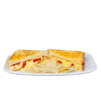 pan con jamón, queso suizo, tomate